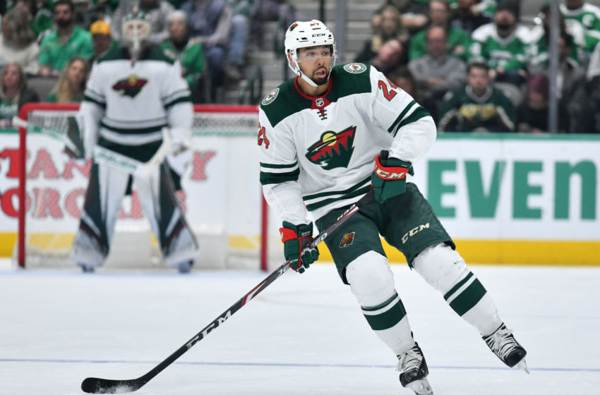 DALLAS, TX - FEBRUARY 7: Matt Dumba #24 of the Minnesota Wild handles the puck against the Dallas Stars at the American Airlines Center on February 7, 2020 in Dallas, Texas. (Photo by Glenn James/NHLI via Getty Images)