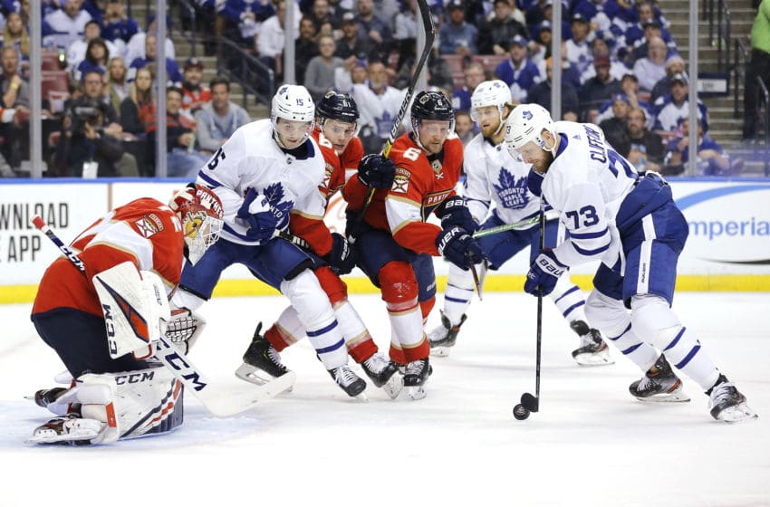 SUNRISE, FLORIDA - FEBRUARY 27: Kyle Clifford #73 of the Toronto Maple Leafs takes a shot on goalie Sergei Bobrovsky #72 of the Florida Panthers during the third period at BB&T Center on February 27, 2020 in Sunrise, Florida. (Photo by Michael Reaves/Getty Images)