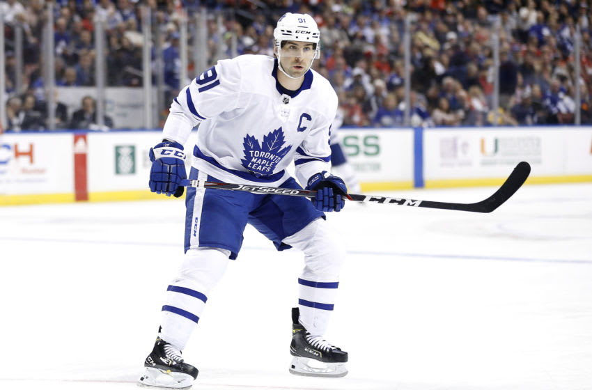 SUNRISE, FLORIDA - FEBRUARY 27: John Tavares #91 of the Toronto Maple Leafs skates on the ice against the Florida Panthers during the first period at BB&T Center on February 27, 2020 in Sunrise, Florida. (Photo by Michael Reaves/Getty Images)