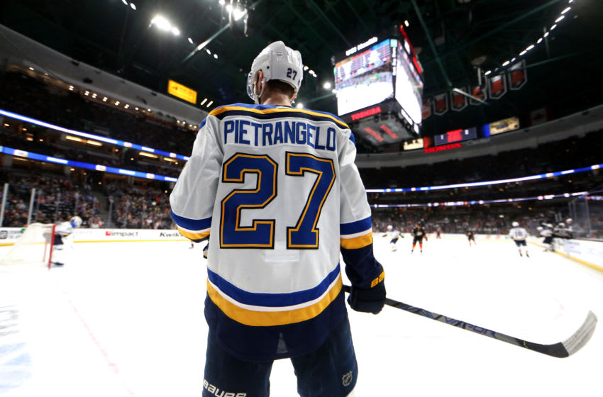 ANAHEIM, CALIFORNIA - MARCH 11: Alex Pietrangelo #27 of the St. Louis Blues looks on during the second period of a game against the Anaheim Ducks at Honda Center on March 11, 2020 in Anaheim, California. (Photo by Sean M. Haffey/Getty Images)