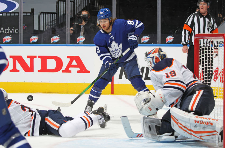 TORONTO,ON - JANUARY 20: William Nylander #88 of the Toronto Maple Leafs tries to flip a pass in front against the Edmonton Oilers during an NHL game at Scotiabank Arena on January 20, 2021 in Toronto, Ontario, Canada. (Photo by Claus Andersen/Getty Images)