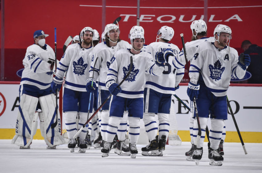 MONTREAL, QC - APRIL 28: The Toronto Maple Leafs celebrate a win against the Montreal Canadiens at the Bell Centre on April 28, 2021 in Montreal, Canada. The Toronto Maple Leafs defeated the Montreal Canadiens 4-1. (Photo by Minas Panagiotakis/Getty Images)