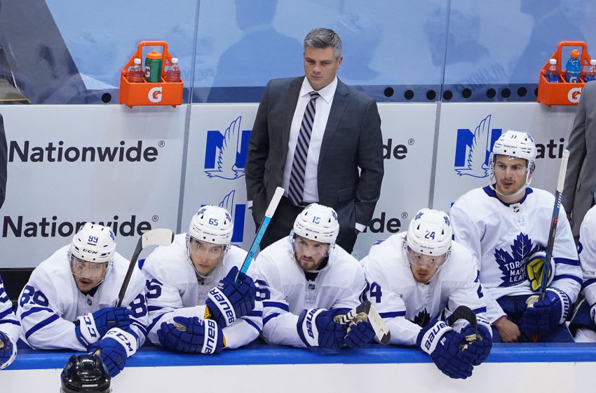 TORONTO, ONTARIO - AUGUST 07: Head Coach Sheldon Keefe of the Toronto Maple Leafs looks on from the bench against the Columbus Blue Jackets in Game Four of the Eastern Conference Qualification Round prior to the 2020 NHL Stanley Cup Playoffs at Scotiabank Arena on August 07, 2020 in Toronto, Ontario. (Photo by Andre Ringuette/Freestyle Photo/Getty Images)