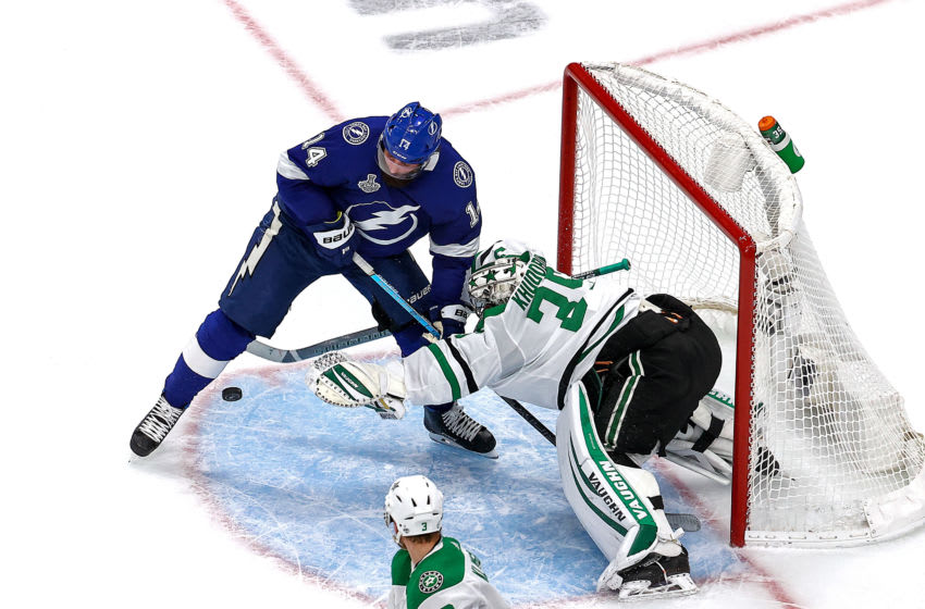 EDMONTON, ALBERTA - SEPTEMBER 21: Anton Khudobin #35 of the Dallas Stars makes the save against Pat Maroon #14 of the Tampa Bay Lightning during the second period in Game Two of the 2020 NHL Stanley Cup Final at Rogers Place on September 21, 2020 in Edmonton, Alberta, Canada. (Photo by Bruce Bennett/Getty Images)