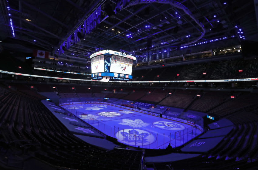 TORONTO, ON - JANUARY 13: A general view prior to action between the Montreal Canadiens and the Toronto Maple Leafs in an NHL game at Scotiabank Arena on January 13, 2021 in Toronto, Ontario, Canada. The Maple Leafs defeated the Canadiens 5-4 in overtime. (Photo by Claus Andersen/Getty Images) *** Local Caption ***