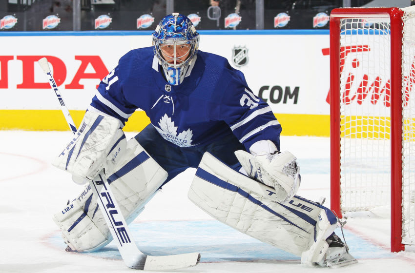 TORONTO,ON - JANUARY 20: Frederik Andersen #31 of the Toronto Maple Leafs watches for a corner shot against the Edmonton Oilers during an NHL game at Scotiabank Arena on January 20, 2021 in Toronto, Ontario, Canada. The Oilers defeated the Maple Leafs 3-1. (Photo by Claus Andersen/Getty Images)
