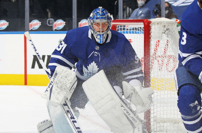 TORONTO, ON - FEBRUARY 15: Frederik Andersen #31 of the Toronto Maple Leafs watches for a shot from the corner against the Ottawa Senators during an NHL game at Scotiabank Arena on February 15, 2021 in Toronto, Ontario, Canada. The Senators defeated the Maple Leafs 6-5 in overtime. (Photo by Claus Andersen/Getty Images)