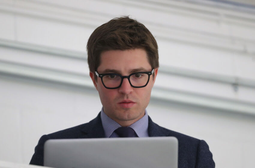 Kyle Dubas, General Manager of the Toronto Maple Leafs (Photo by Tom Szczerbowski/Getty Images)