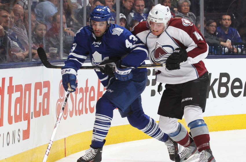 Toronto Maple Leafs - Tyson Barrie battles Nazem Kadri (Photo by Claus Andersen/Getty Images)