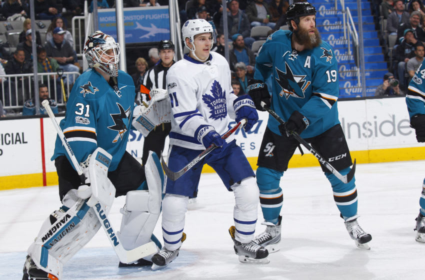 SAN JOSE, CA - FEBRUARY 28: Martin Jones #31 and Joe Thornton #19 of the San Jose Sharks defend the net against Zach Hyman #11 of the Toronto Maple Leafs at SAP Center on February 28, 2017 in San Jose, California. (Photo by Rocky W. Widner/NHL/Getty Images)