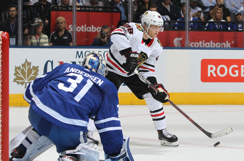 TORONTO, ON - OCTOBER 9: Patrick Kane #88 of the Chicago Blackhawks looks to make a play in front of Frederik Andersen #31 of the Toronto Maple Leafs in an NHL game at the Air Canada Centre on October 9, 2017 in Toronto, Ontario. (Photo by Claus Andersen/Getty Images)