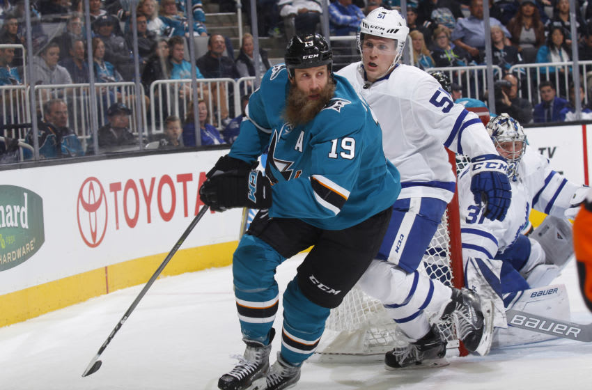 SAN JOSE, CA - OCTOBER 30: Joe Thornton #19 of the San Jose Sharks skates against Jake Gardiner #51 of the Toronto Maple Leafs at SAP Center on October 30, 2017 in San Jose, California. (Photo by Rocky W. Widner/NHL/Getty Images)