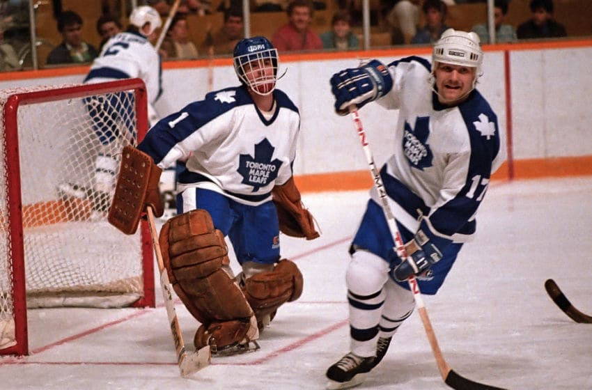 Tim Bernhardt #1 and Wendel Clark #17 of the Toronto Maple Leafs - 1985 (Photo by Graig Abel/Getty Images)