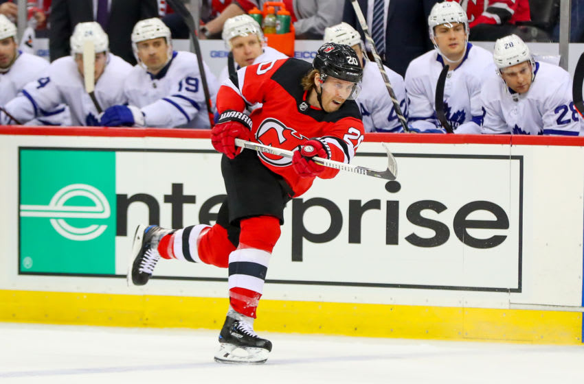 NEWARK, NJ - APRIL 05: New Jersey Devils center Blake Coleman (20) skates during the first period of the National Hockey League Game between the New Jersey Devils and the Toronto Maple Leafs on April 5, 2018, at the Prudential Center in Newark, NJ. (Photo by Rich Graessle/Icon Sportswire via Getty Images)