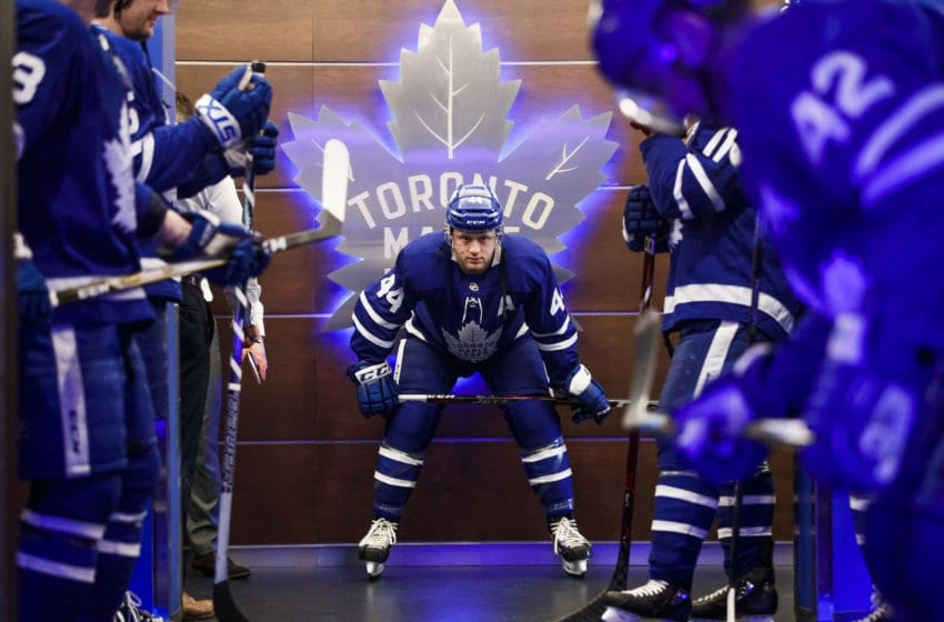 TORONTO, ON - APRIL 16: Morgan Rielly #44 of the Toronto Maple Leafs stands with his teammates before warm-up ahead of Game Three of the Eastern Conference First Round against the Boston Bruins during the 2018 NHL Stanley Cup Playoffs at the Air Canada Centre on April 16, 2018 in Toronto, Ontario, Canada. (Photo by Mark Blinch/NHLI via Getty Images)