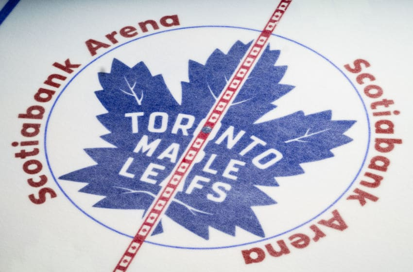 TORONTO, ON - JANUARY 12: Toronto Maple Leafs logo pictured at centre ice at the Scotiabank Arena on January 12, 2019 in Toronto, Ontario, Canada. (Photo by Mark Blinch/NHLI via Getty Images)