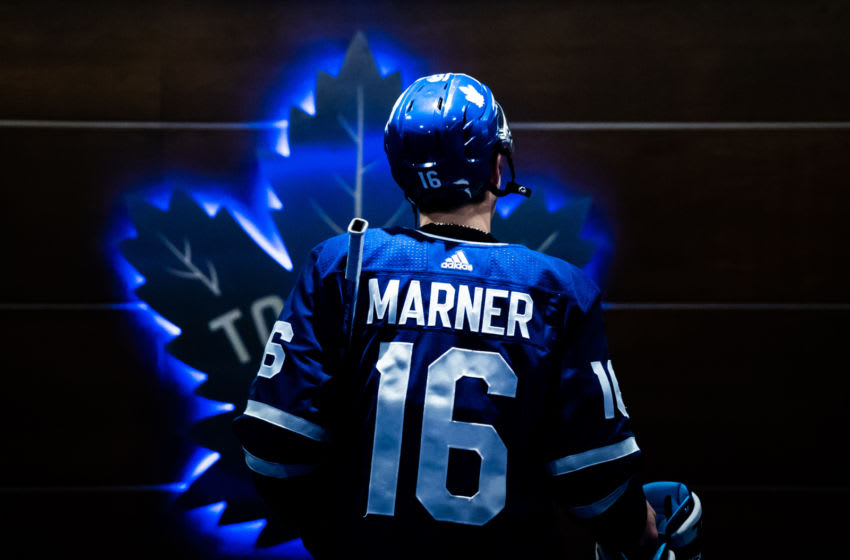 TORONTO, ON - APRIL 4: Mitchell Marner #16 of the Toronto Maple Leafs returns to the dressing room after warm ups before playing the Tampa Bay Lightning at the Scotiabank Arena on April 4, 2019 in Toronto, Ontario, Canada. (Photo by Kevin Sousa/NHLI via Getty Images)