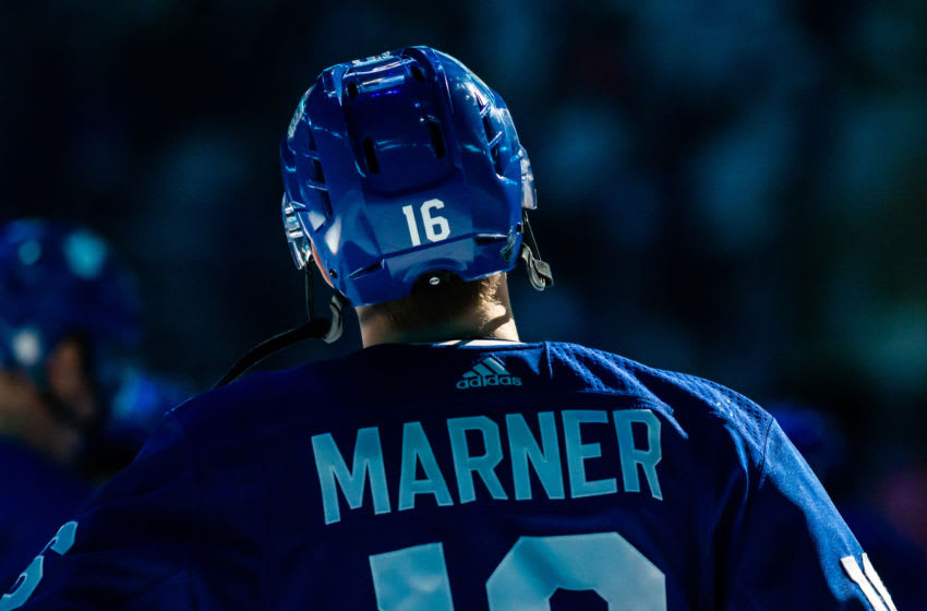TORONTO, ON - APRIL 17: Mitchell Marner #16 of the Toronto Maple Leafs during opening ceremonies before a game against the Boston Bruins during the first period during Game Four of the Eastern Conference First Round during the 2019 NHL Stanley Cup Playoffs at the Scotiabank Arena on April 17, 2019 in Toronto, Ontario, Canada. (Photo by Kevin Sousa/NHLI via Getty Images)