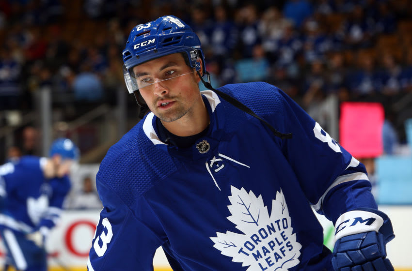 TORONTO, ON - SEPTEMBER 28: Cody Ceci #83 of the Toronto Maple Leafs warms up prior to an NHL pre-season game against the Detroit Red Wings at Scotiabank Arena on September 28, 2019 in Toronto, Canada. (Photo by Vaughn Ridley/Getty Images)