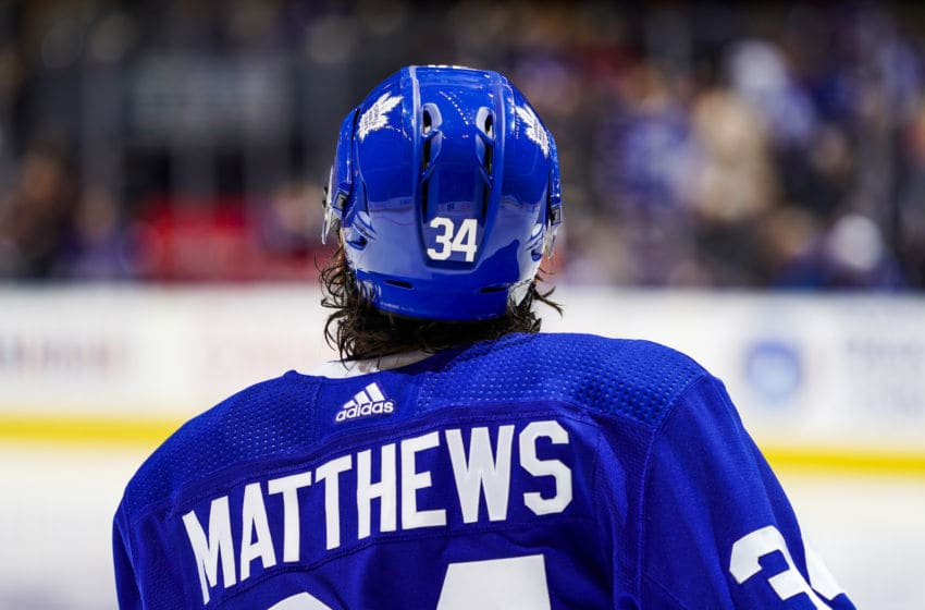 TORONTO, ON - OCTOBER 5: Auston Matthews #34 of the Toronto Maple Leafs looks on before the start of the second period against the Montreal Canadiens at the Scotiabank Arena on October 5, 2019 in Toronto, Ontario, Canada. (Photo by Mark Blinch/NHLI via Getty Images)