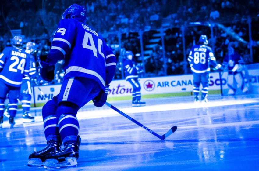 TORONTO, ON - NOVEMBER 9: Morgan Rielly #44 of the Toronto Maple Leafs takes the ice before playing the Philadelphia Flyers at the Scotiabank Arena on November 9, 2019 in Toronto, Ontario, Canada. (Photo by Mark Blinch/NHLI via Getty Images)