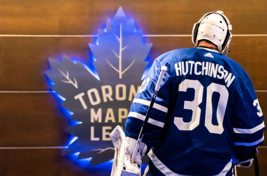 TORONTO, ON - OCTOBER 5: Toronto Maple Leafs goaltender Michael Hutchinson #30 returns to the dressing room after the second period against the Montreal Canadiens at the Scotiabank Arena on October 5, 2019 in Toronto, Ontario, Canada. (Photo by Kevin Sousa/NHLI via Getty Images)