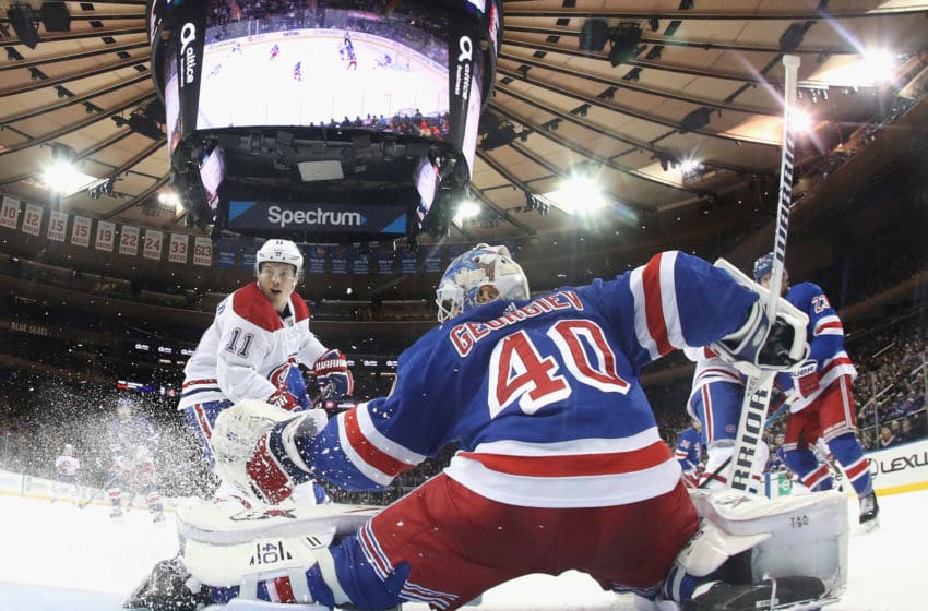 NEW YORK, NEW YORK - DECEMBER 06: Brendan Gallagher #11 of the Montreal Canadiens skates against Alexandar Georgiev #40 of the New York Rangers at Madison Square Garden on December 06, 2019 in New York City. The Canadiens defeated the Rangers 2-1. (Photo by Bruce Bennett/Getty Images)