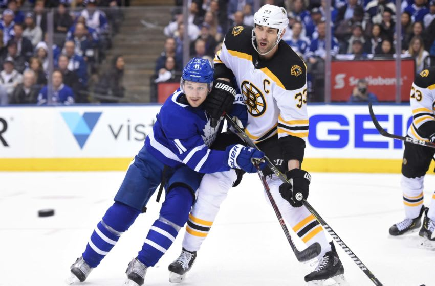 Apr 16, 2018; Toronto, Ontario, CAN; Toronto Maple Leafs forward Zach Hymen (11) and Boston Bruins defenceman Zdeno Chara (33) battle for position in game three of the first round of the 2018 Stanley Cup Playoffs at Air Canada Centre. Mandatory Credit: Dan Hamilton-USA TODAY Sports
