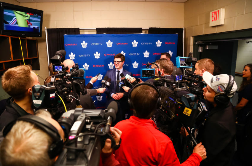 Dec 1, 2018; Saint Paul, MN, USA; Toronto Maple Leafs General Manager Kyle Dubas addressed the media before the start of the game against the Minnesota Wild at Xcel Energy Center. Mandatory Credit: David Berding-USA TODAY Sports
