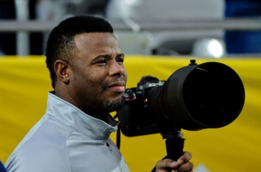 Dec 31, 2014; Glendale, AZ, USA; Seattle Mariners former player Ken Griffey Jr. photographs during the first half of the game between the Arizona Wildcats and the Boise State Broncos in the 2014 Fiesta Bowl at Phoenix Stadium. Mandatory Credit: Matt Kartozian-USA TODAY Sports