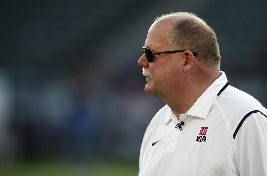 Jan 23, 2016; Carson, CA, USA; American Team coach Mike Holmgren looks on during the first half of the NFLPA Collegiate Bowl against the National Team at StubHub Center. Mandatory Credit: Kelvin Kuo-USA TODAY Sports