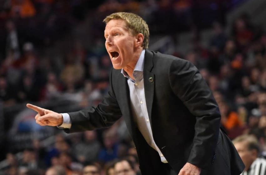 Mar 25, 2016; Chicago, IL, USA; Gonzaga Bulldogs head coach Mark Few reacts against the Syracuse Orange during the second half in a semifinal game in the Midwest regional of the NCAA Tournament at United Center. Mandatory Credit: David Banks-USA TODAY Sports