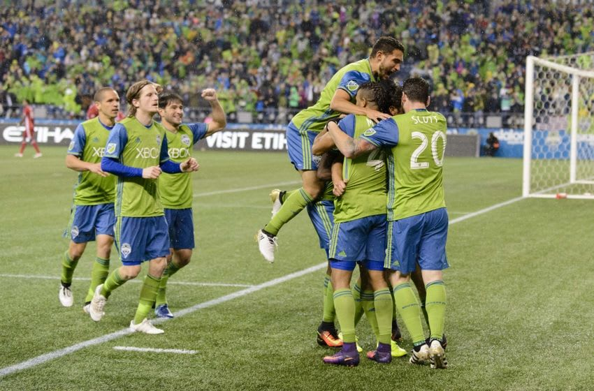 Oct 30, 2016; Seattle, WA, USA; The Seattle Sounders FC celebrate after Seattle Sounders FC forward Nelson Valdez (16) scored a goal against FC Dallas during the second half at CenturyLink Field. Seattle Sounders FC defeated FC Dallas 3-0. Mandatory Credit: Steven Bisig-USA TODAY Sports