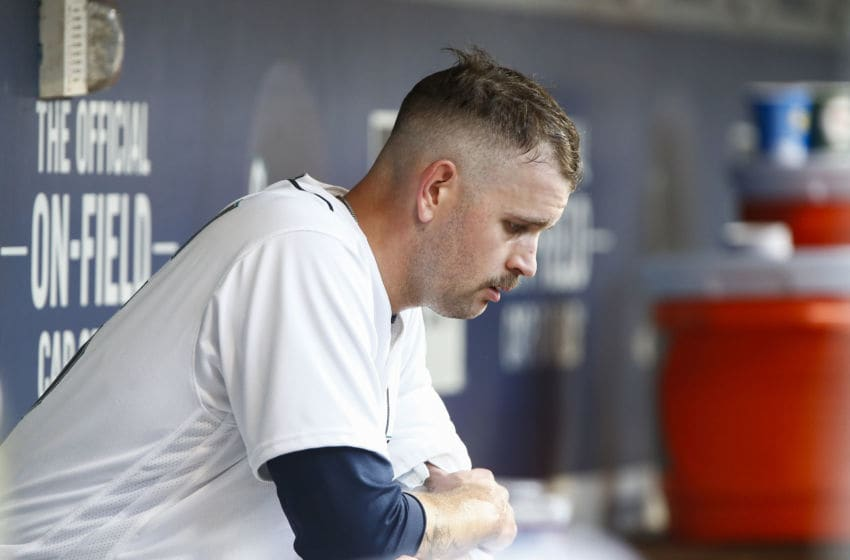 SEATTLE, WA - AUGUST 04: James Paxton #65 of the Seattle Mariners sits in the dugout after giving up two runs in the third inning against the Toronto Blue Jays at Safeco Field on August 4, 2018 in Seattle, Washington. (Photo by Lindsey Wasson/Getty Images)