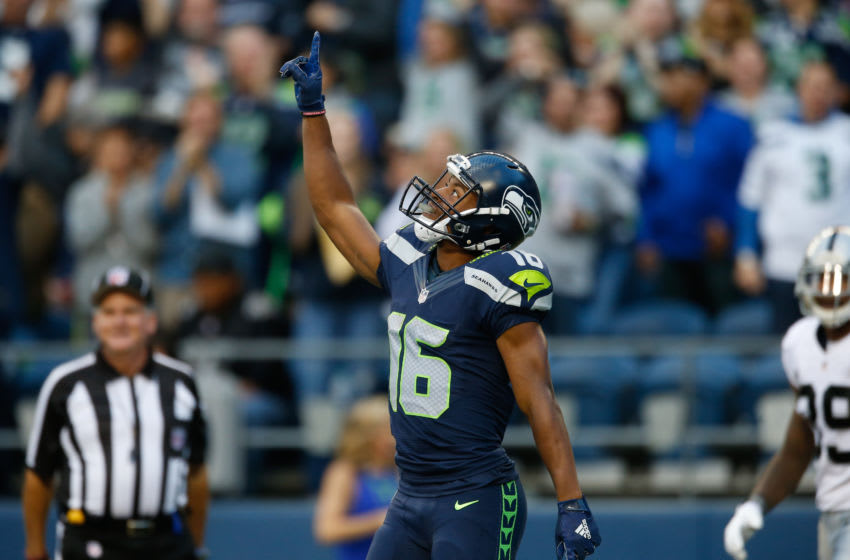 SEATTLE, WA - SEPTEMBER 03: Wide receiver Tyler Lockett #16 of the Seattle Seahawks gestures after making a catch for a 63 yard touchdown in the first quarter against the Oakland Raiders at CenturyLink Field on September 3, 2015 in Seattle, Washington. (Photo by Otto Greule Jr/Getty Images)