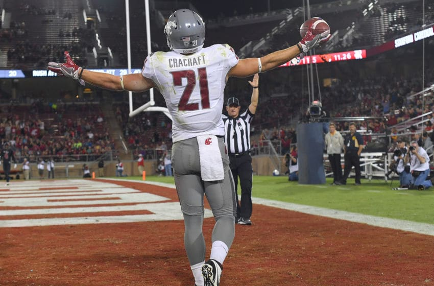 PALO ALTO, CA - OCTOBER 08: River Cracraft #21 of the Washington State Cougars celebrates after catching a touchdown pass against the Stanford Cardinal during the second half of their NCAA football game at Stanford Stadium on October 8, 2016 in Palo Alto, California. (Photo by Thearon W. Henderson/Getty Images)