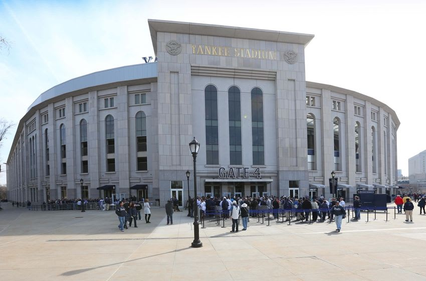 Apr 6, 2015; Bronx, NY, USA; General view of fans arriving for the game between the New York Yankees and the Toronto Blue Jays on Opening Day at Yankee Stadium. Mandatory Credit: Anthony Gruppuso-USA TODAY Sports