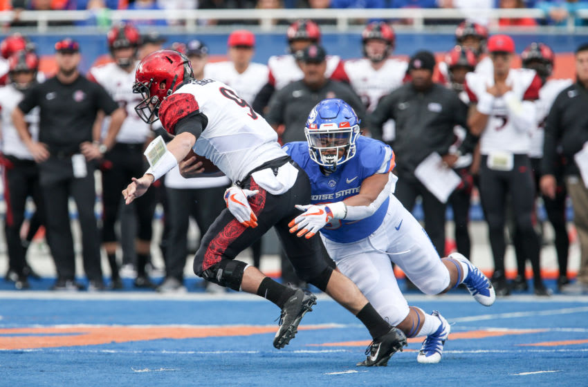 Ryan Agnew, San Diego State Aztecs. Curtis Weaver, Boise State Broncos. (Photo by Loren Orr/Getty Images)