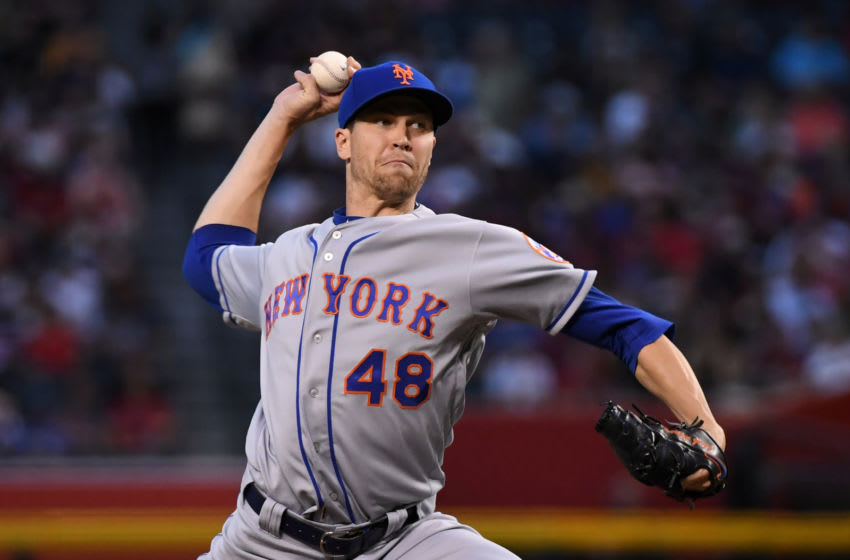Jacob deGrom #48 of the New York Mets. (Photo by Norm Hall/Getty Images)