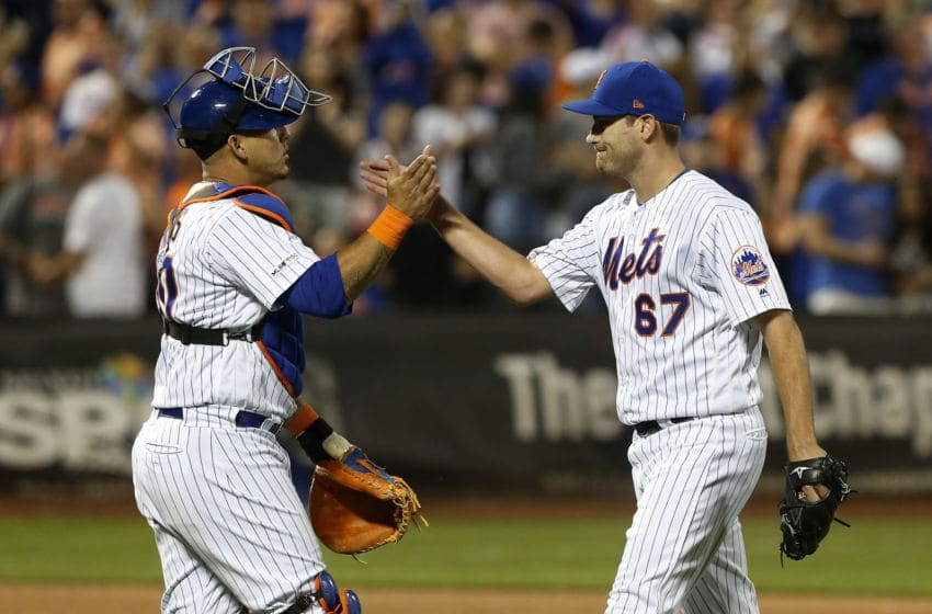 Seth Lugo, Wilson Ramos, New York Mets . (Photo by Jim McIsaac/Getty Images)