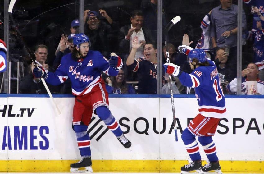 Artemi Panarin, Mika Zibanejad, New York Rangers. (Photo by Bruce Bennett/Getty Images)