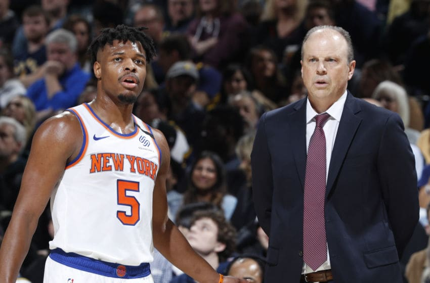 Dennis Smith Jr., Mike Miller, New York Knicks. (Photo by Joe Robbins/Getty Images)
