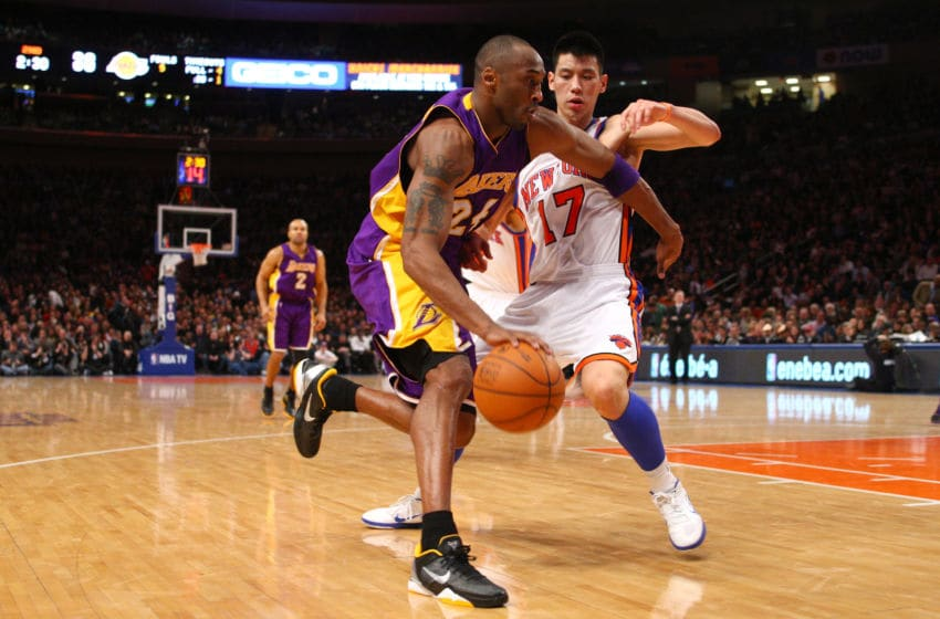 Kobe Bryant, Los Angeles Lakers. Jeremy Lin, New York Knicks. (Photo by Chris Chambers/Getty Images)