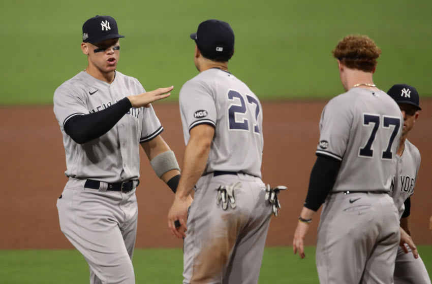 Aaron Judge, Giancarlo Stanton, Clint Frazier, New York Yankees. (Photo by Christian Petersen/Getty Images)