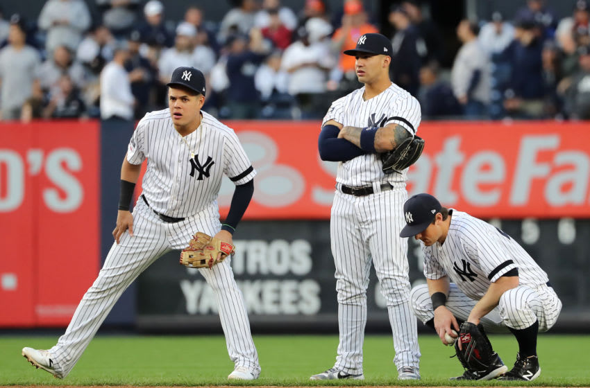 Gio Urshela, Gleyber Torres, DJ LeMahieu, New York Yankees. (Photo by Elsa/Getty Images)