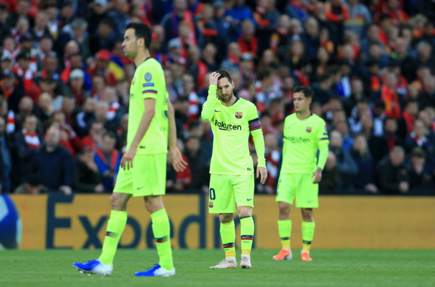LIVERPOOL, ENGLAND - MAY 07: Lionel Messi of Barcelona looks dejected during the UEFA Champions League Semi Final second leg match between Liverpool and FC Barcelona at Anfield on May 7, 2019 in Liverpool, England. (Photo by Simon Stacpoole/Offside/Getty Images)