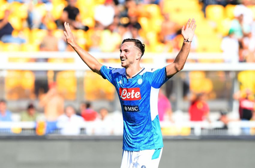 LECCE, ITALY - SEPTEMBER 22: Fabian Ruiz of Napoli celebrates after scoring the first goal during the Serie A match between US Lecce and SSC Napoli at Stadio Via del Mare on September 22, 2019 in Lecce, Italy. (Photo by SSC NAPOLI/SSC NAPOLI via Getty Images)
