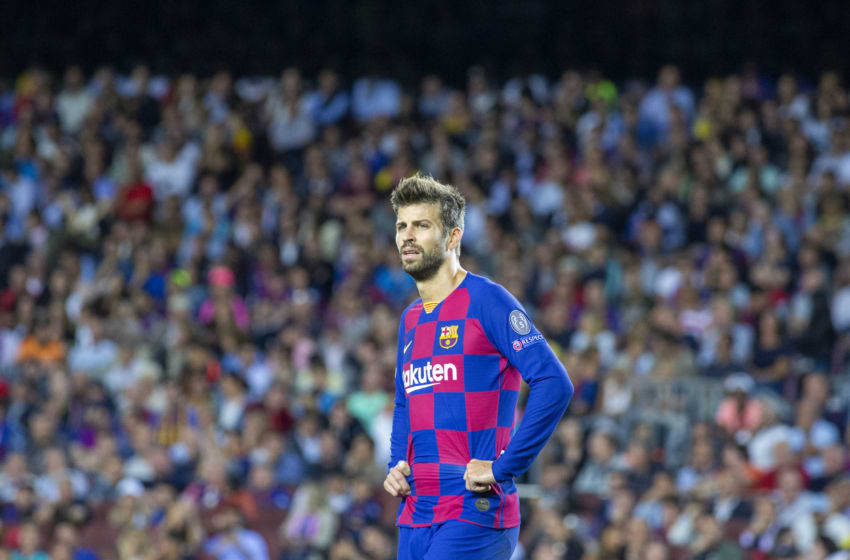BARCELONA, SPAIN - October 2: Gerard Piqué #3 of Barcelona during the Barcelona V Internazionale, UEFA Champions League group stage match at Estadio Camp Nou on October 2nd 2019 in Barcelona, Spain. (Photo by Tim Clayton/Corbis via Getty Images)