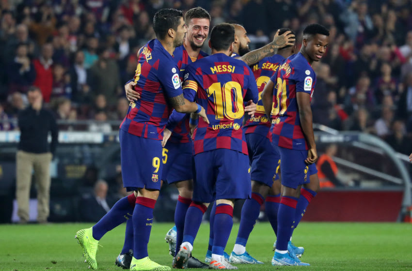 Fc Barcelona players celebration during the match between FC Barcelona and Valladolid CF, played at the Camp Nou Stadium, corresponding to the fweek 11 of the Liga Santander, on 29th October 2019, in Barcelona, Spain. -- (Photo by Urbanandsport/NurPhoto via Getty Images)