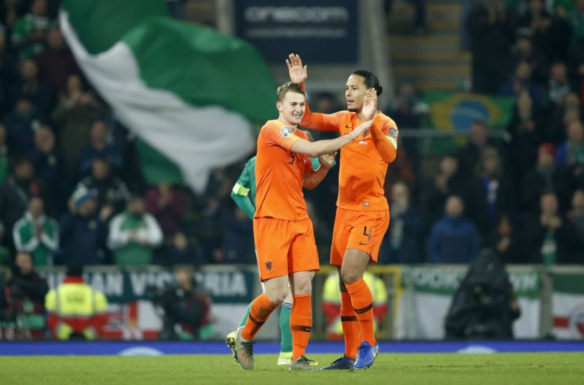 (L-R) Matthijs de Ligt of Holland, Virgil van Dijk of Holland during the UEFA EURO 2020 qualifier group C qualifying match between Northern Ireland and The Netherlands at Windsor Park on November 16, 2019 in Belfast, Northern Ireland(Photo by ANP Sport via Getty Images)